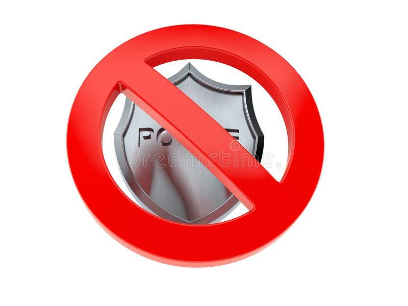 Polizeimarke mit verbotenem Symbol lizenzfreie abbildung
