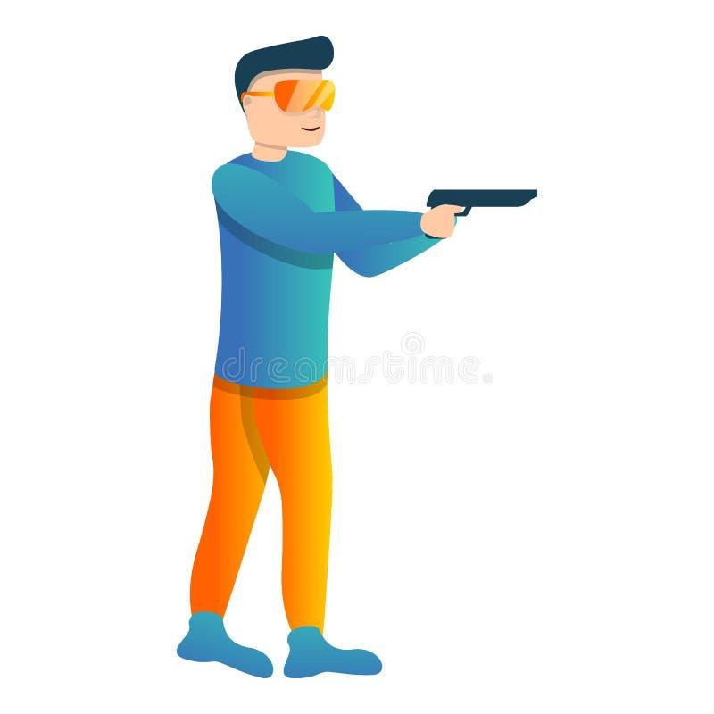 Polizeipistolen-Schießenikone, Karikaturart stock abbildung