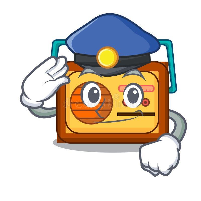 Polizeiradiocharakter-Karikaturart vektor abbildung