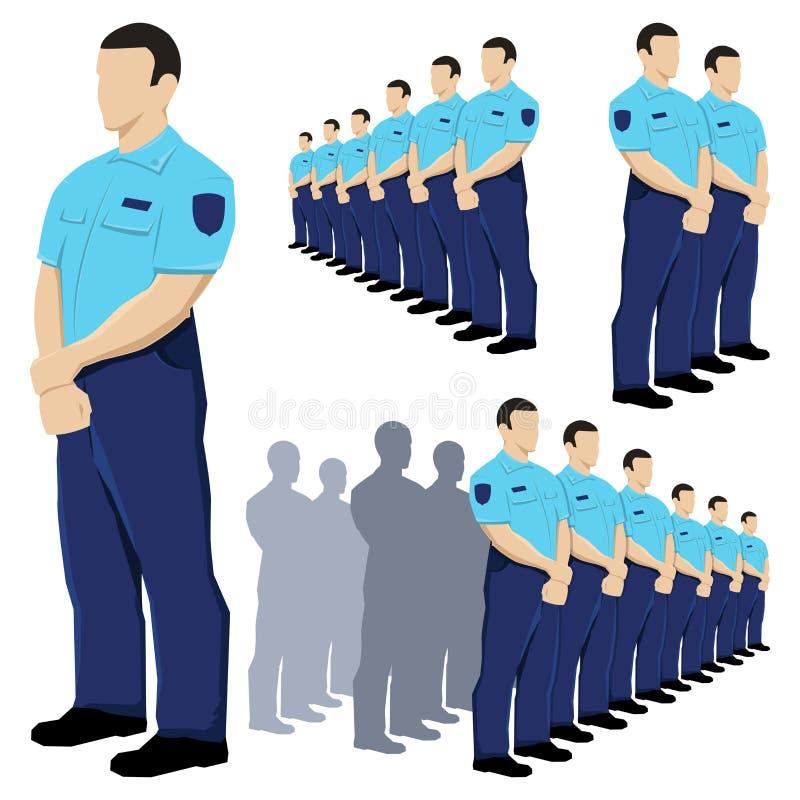 Polizeisicherheitsbeamtevektor eingestellt mit blauer Uniform vektor abbildung
