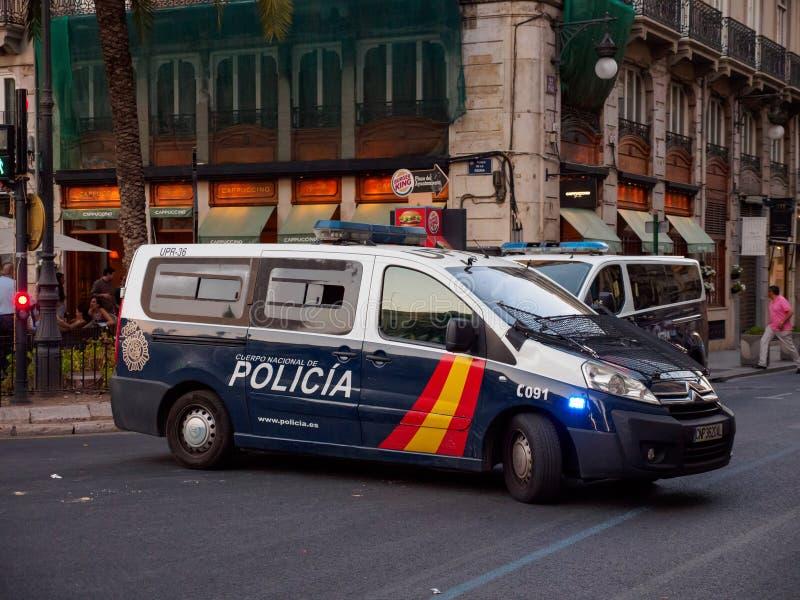 Polizeiwagen während der Routinepatrouille, Valencia, Spanien lizenzfreies stockbild