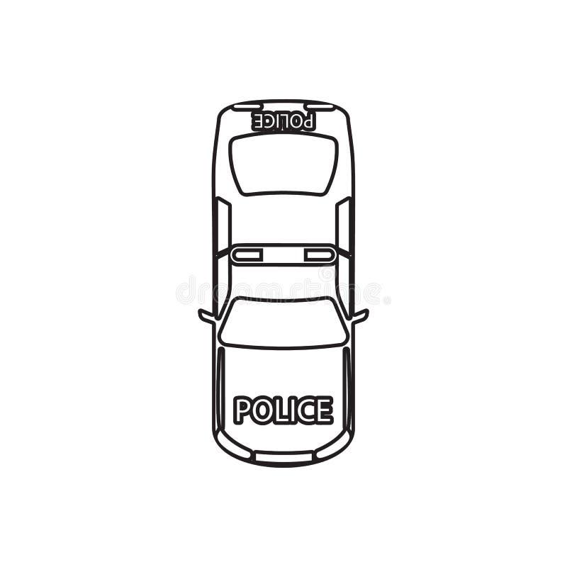 Polizeiwagenikone Element der Transportansicht von oben f?r bewegliches Konzept und Netz Appsikone Entwurf, d?nne Linie Ikone f?r vektor abbildung