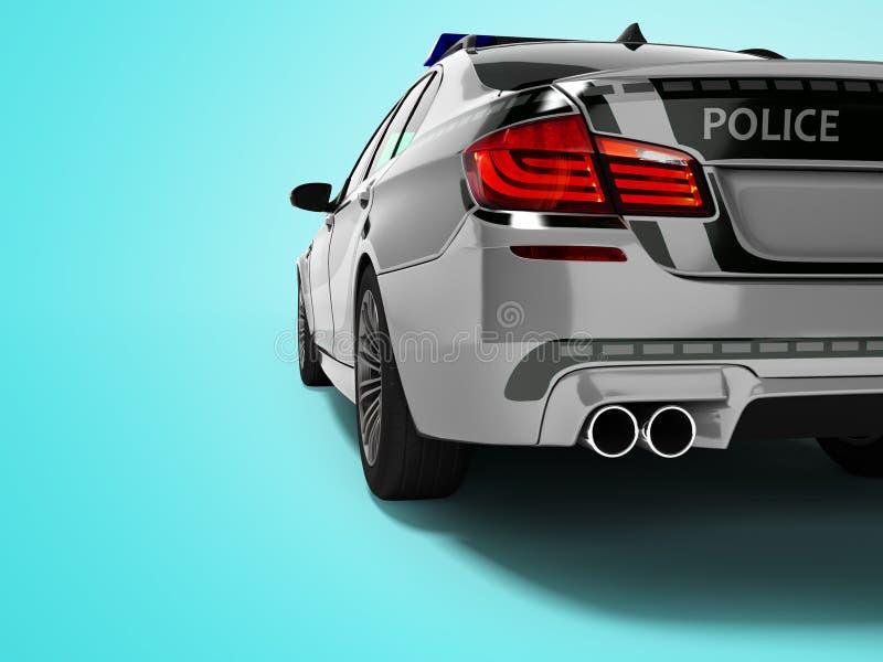 Polizeiwagenlimousinegrau mit hinterer Ansicht 3d der grünen Einsätze auf blauem Hintergrund mit Schatten übertragen lizenzfreie abbildung
