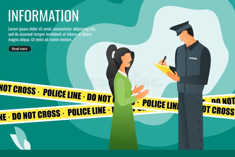 Polizia che chiede informazioni da un testimone della giovane donna illustrazione di stock