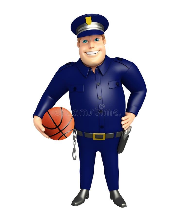 Polizia con pallacanestro royalty illustrazione gratis