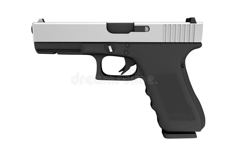 Polizia metallica potente o pistola militare della pistola rappresentazione 3d illustrazione vettoriale