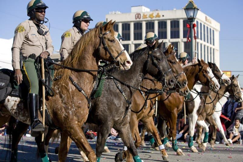 Polizia montata parata cinese di nuovo anno immagine stock libera da diritti