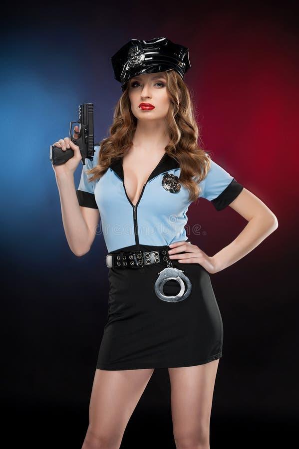 Poliziotta sexy. fotografia stock