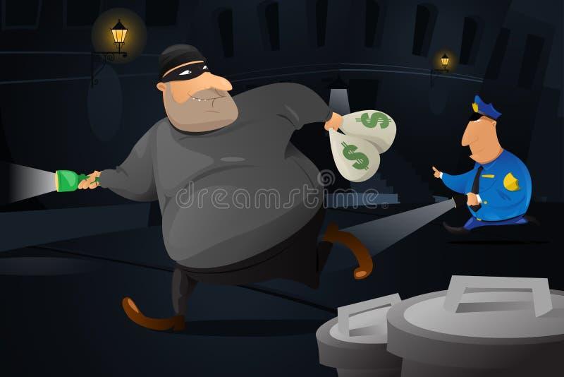 Poliziotto che prende un ladro in un vicolo scuro illustrazione vettoriale