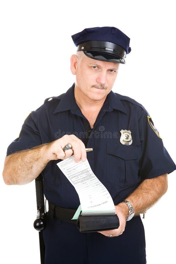 Poliziotto con la citazione in bianco