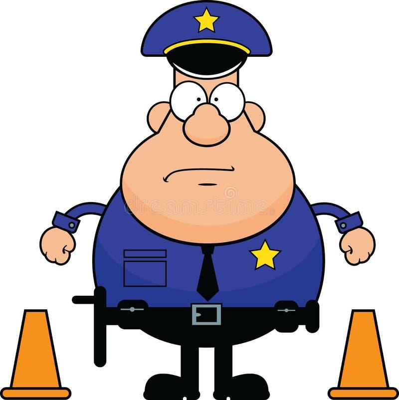 Poliziotto del fumetto con i coni di traffico royalty illustrazione gratis