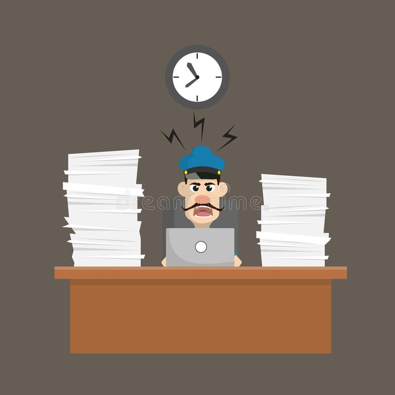 Poliziotto di cartone animato - Frustrato dai lavori di ufficio illustrazione vettoriale