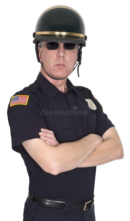 Poliziotto di motociclo serio, polizia, poliziotto, sceriffo fotografie stock