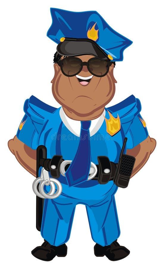 Poliziotto felice di afro illustrazione di stock