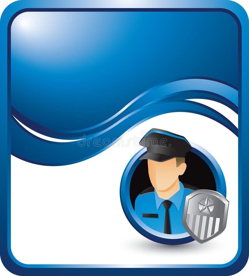 Polizist auf blauem Wellenhintergrund stock abbildung