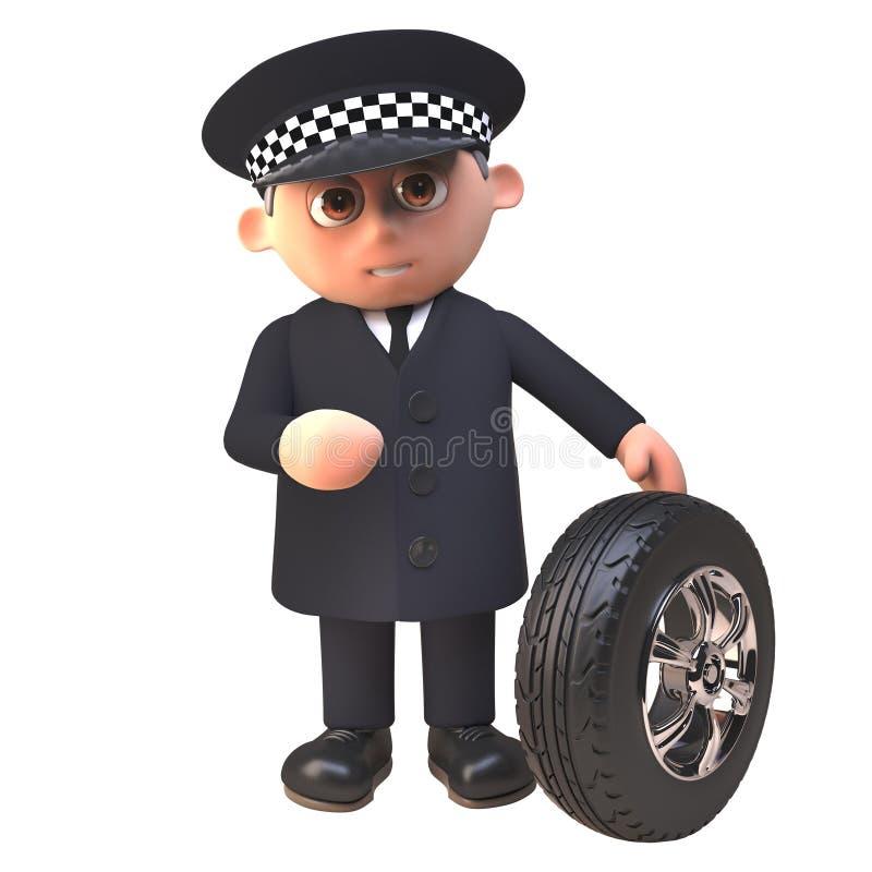 Polizist-Charakterkontrollen des Polizeibeamten 3d der Schritt auf einem Autoreifen, Illustration 3d vektor abbildung