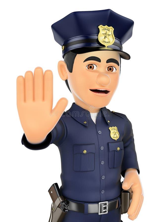 Polizist 3D bestellt, mit der Hand zu stoppen stock abbildung