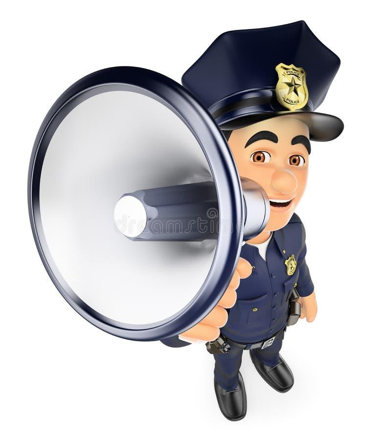 Polizist 3D, der auf einem Megaphon spricht lizenzfreie abbildung