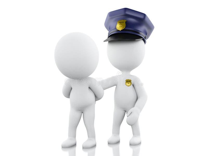 Polizist 3d, der einen Dieb gegen weißen Hintergrund festnimmt vektor abbildung
