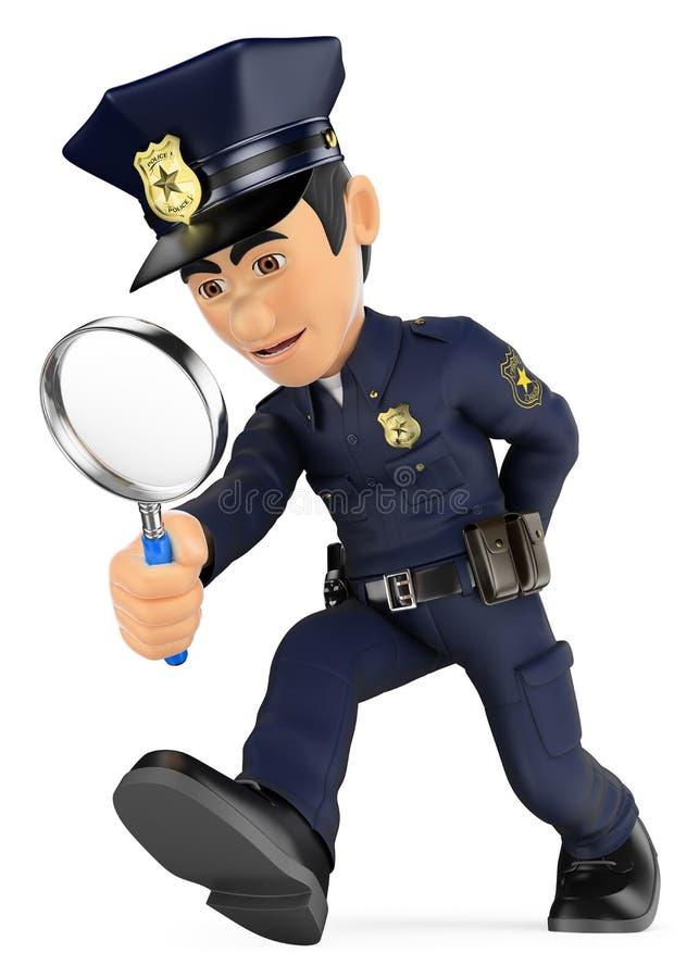 Polizist 3D, der mit einer Lupe schaut untersuchung CSI stock abbildung