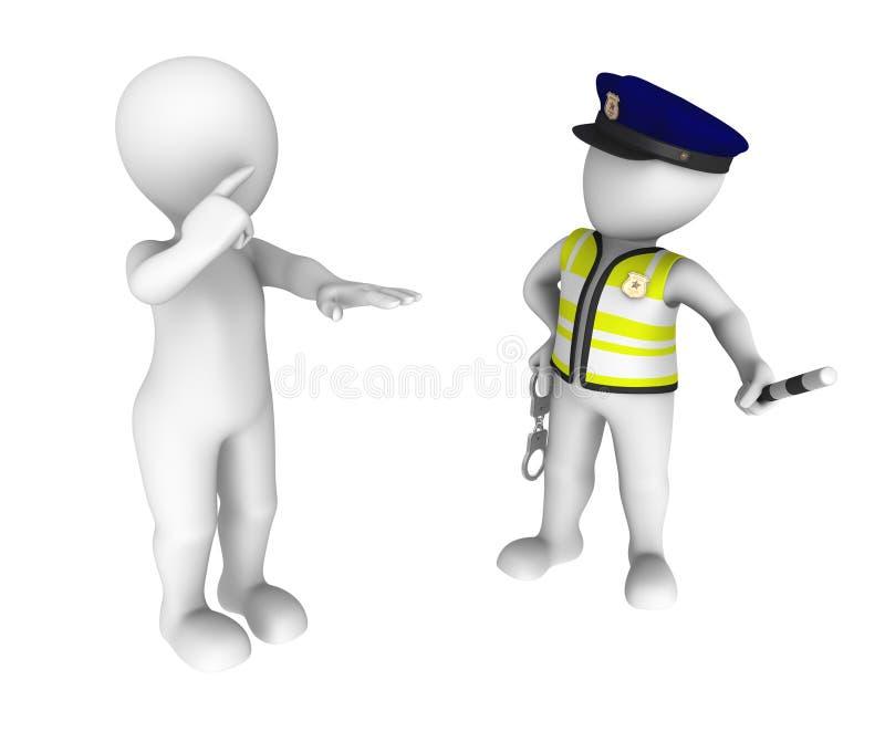 Polizist 3d und betrunkener Fahrer Nüchternheitstest vektor abbildung