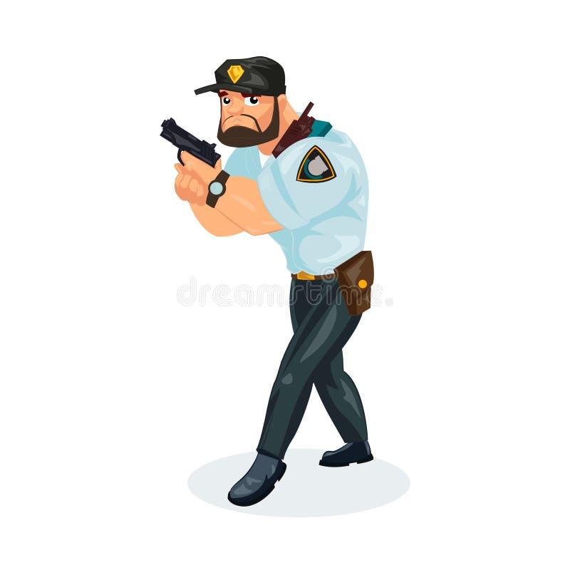 Polizist, in der Funktionskleidung, in der Form, fängt Verbrecher stock abbildung