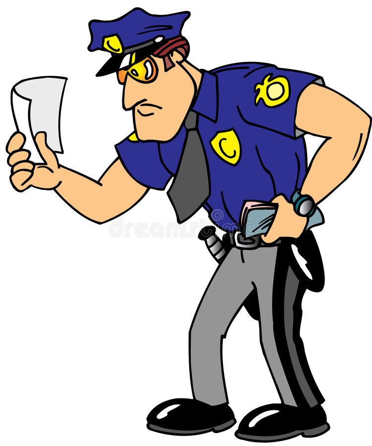 Polizist, der Karte gibt vektor abbildung
