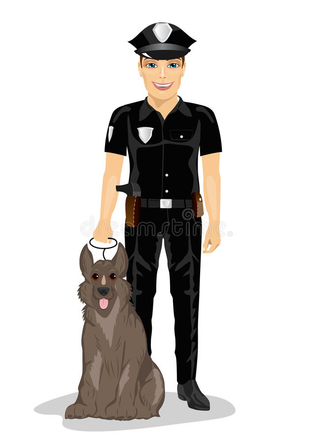 Polizist, der mit dem Polizeihund lächelt über weißem Hintergrund steht stock abbildung