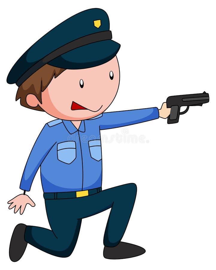 Polizist in der Uniform, die ein Gewehr schießt stock abbildung