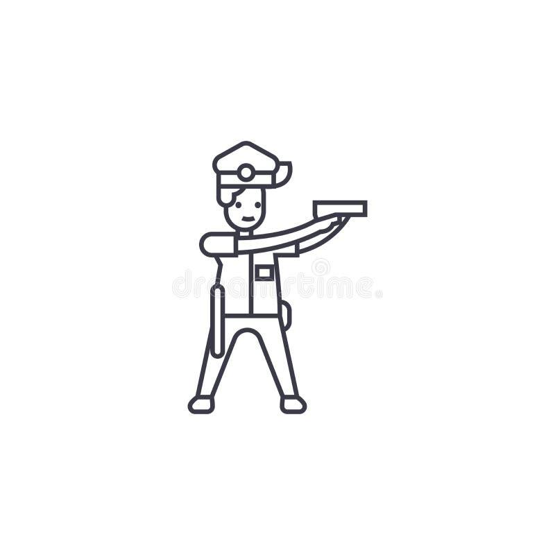 Polizist, der Vektorlinie Ikone, Zeichen, Illustration auf Hintergrund, editable Anschläge zielt vektor abbildung