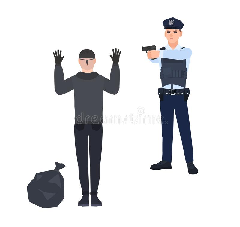 Polizist im Polizeieinheitlichen Zeigegewehr am Räuber oder am Einbrecher Fesselnder Dieb der Spindel, der mit den Händen oben st stock abbildung