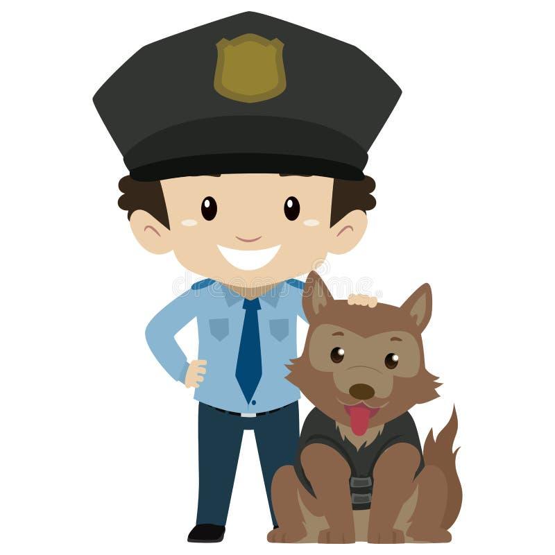 Polizist-Junge mit Polizei-Hund vektor abbildung