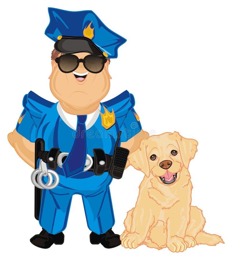 Polizist mit Hund vektor abbildung