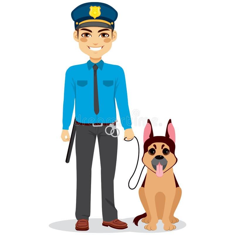 Polizist mit Hund lizenzfreie abbildung