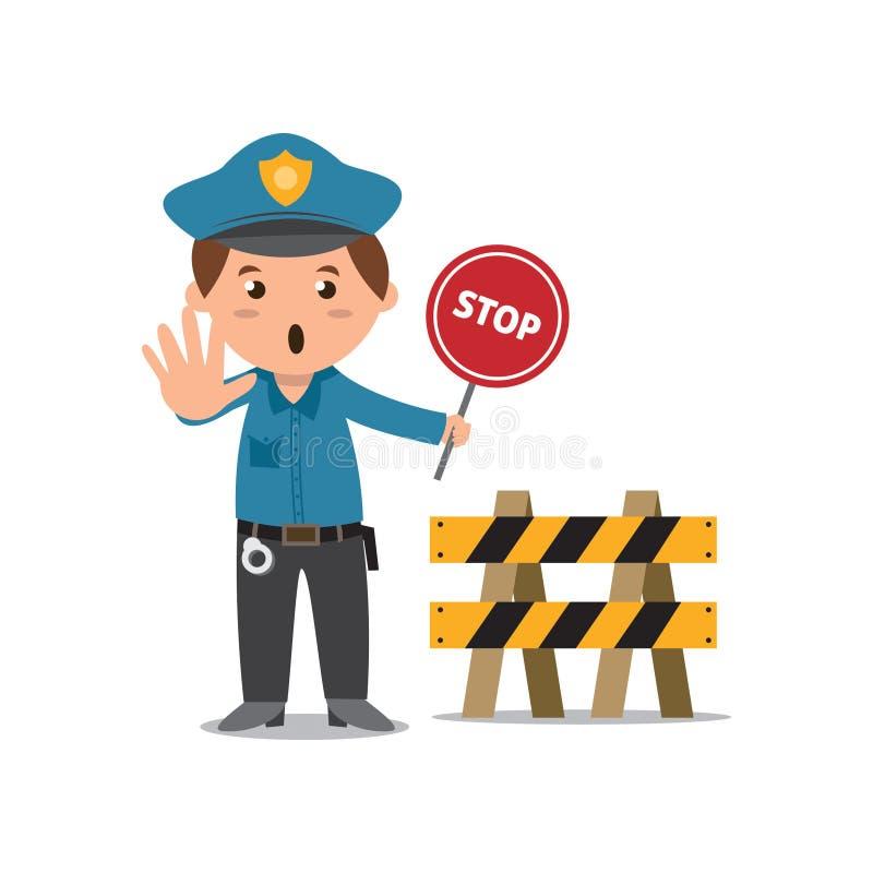 Polizist mit Stoppschild lizenzfreie abbildung