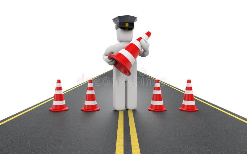 Polizist mit Verkehrskegeln lizenzfreie abbildung