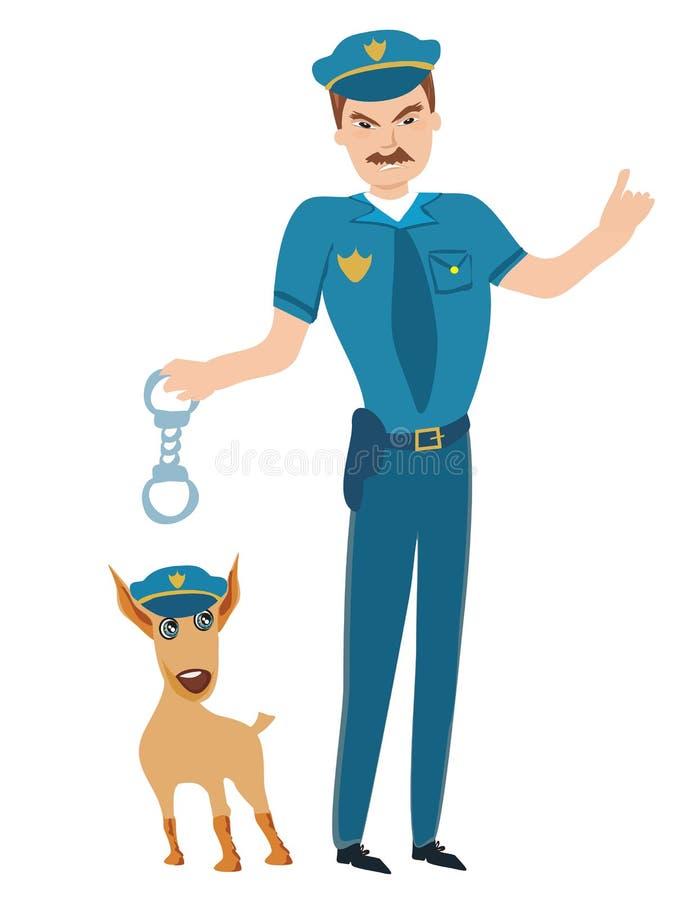 Polizist und sein Hund lizenzfreie abbildung