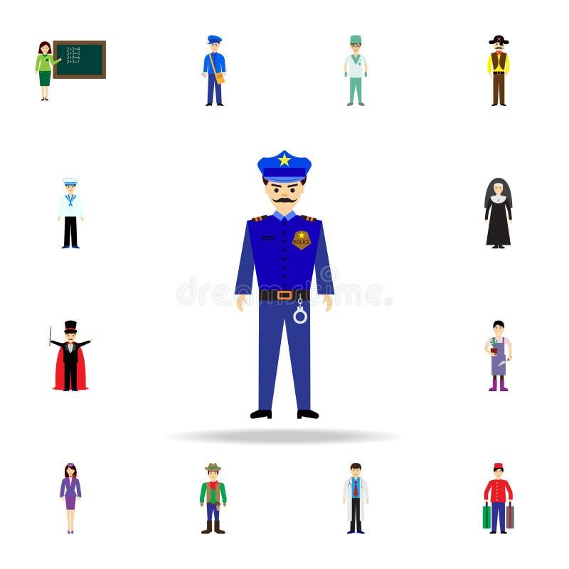 Polizistkarikaturikone Ausführlicher Satz Farbberufikonen Erstklassiges Grafikdesign Eine der Sammlungsikonen für Website lizenzfreie abbildung