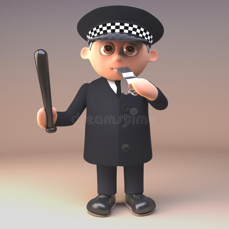Polizistpolizeibeamte in 3d, das seine Pfeife beim Ausüben eines Schlagstockes, Illustration 3d durchbrennt stock abbildung