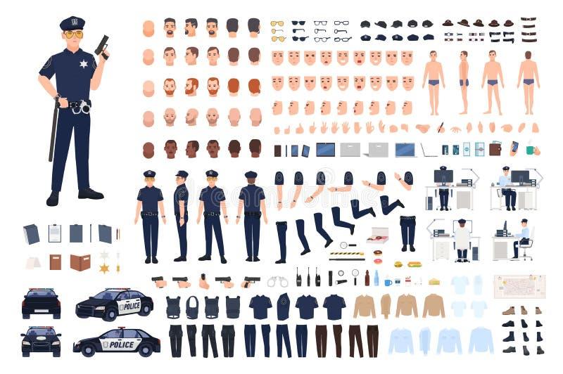 Polizistschaffungssatz oder DIY-Ausrüstung Sammlung männliche Polizeibeamtekörperteile, Gesichtsgesten, Frisuren, Uniform stock abbildung