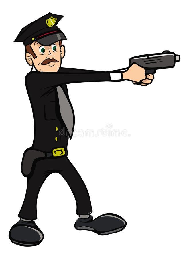 Polizistschießen lizenzfreie abbildung