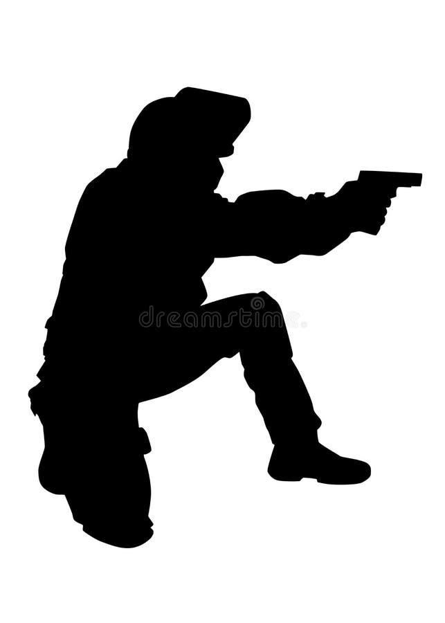 Polizistschießen mit Pistolenvektorschwarzschattenbild vektor abbildung