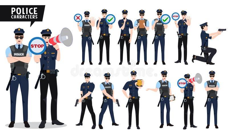 Polizistvektorzeichensatz Polizeibeamtecharaktere, die Gewehr und Plakat mit Zeichen halten lizenzfreie abbildung