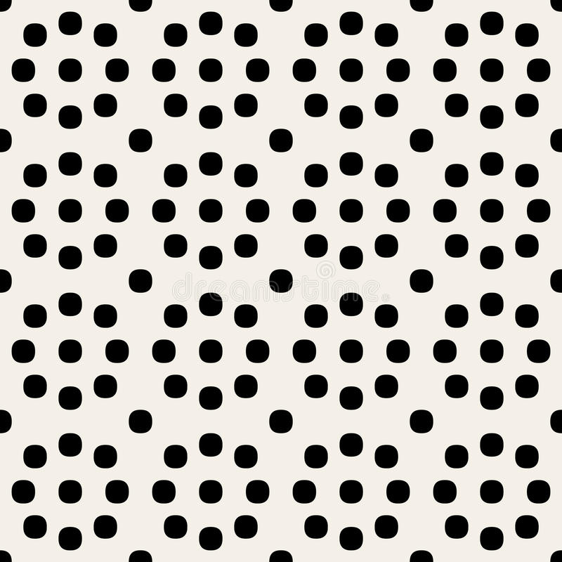 Polka arrotondata geometrica in bianco e nero senza cuciture Dots Pattern dei cerchi di vettore retro royalty illustrazione gratis