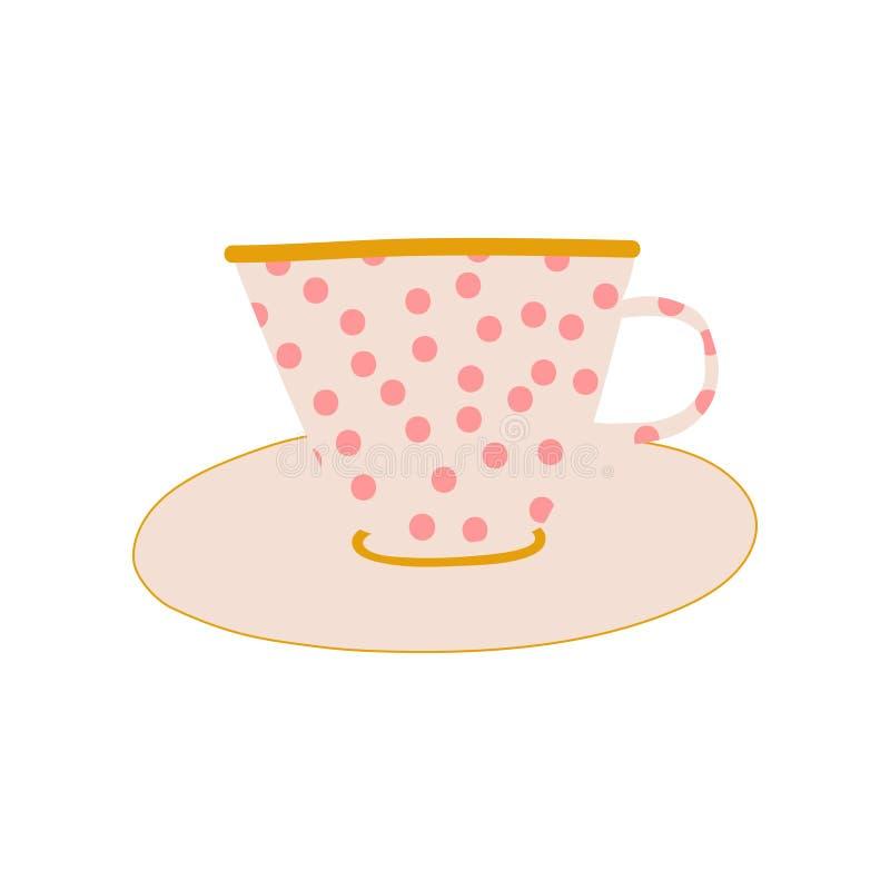 Polka bianca Dot Ceramic Cup e piattino, illustrazione ceramica sveglia di vettore delle terrecotte royalty illustrazione gratis