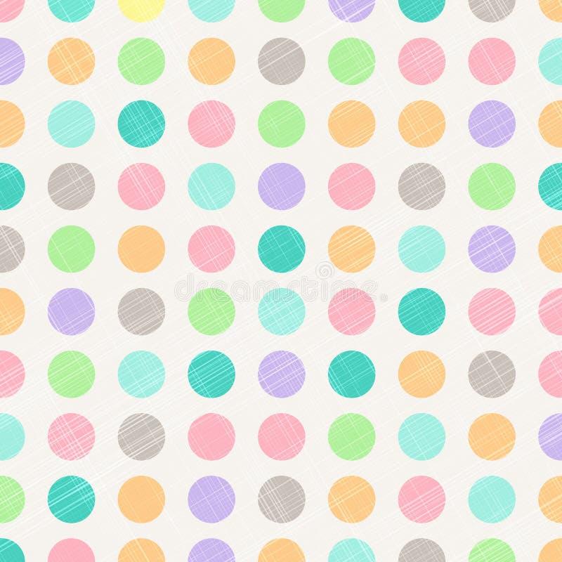 Polka d'annata astratta Dots Circles Pattern Background With Fabr illustrazione vettoriale