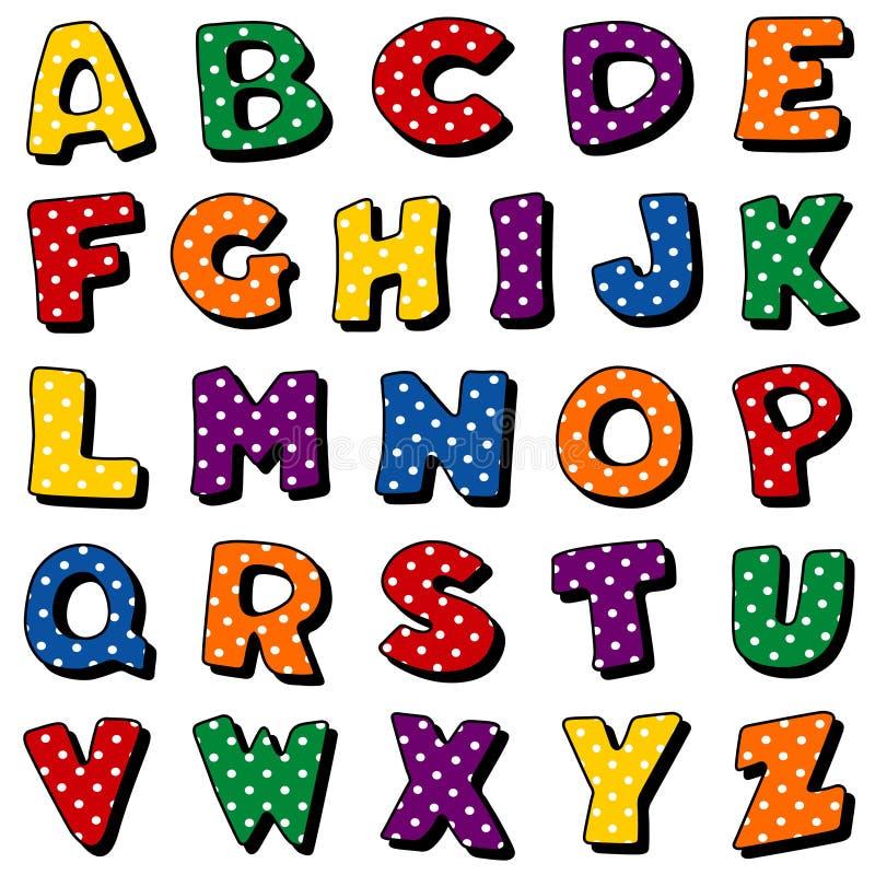 Polka Dot Alphabet. Original alphabet design with white polka dots on red, blue, green, gold, orange & purple backgrounds for albums, scrapbooks, crafts & back stock illustration
