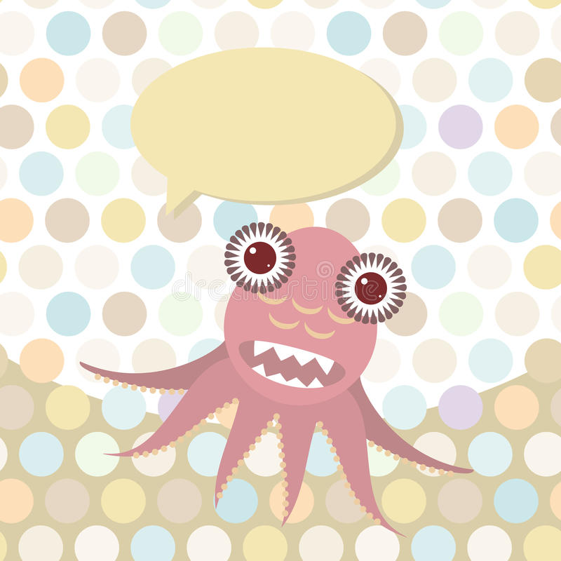 Polka dot background, pattern. Funny cute octopus monster on dot background. Vector royalty free illustration