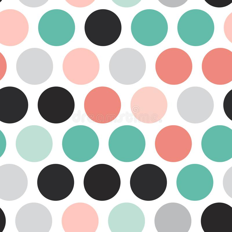 Polka dot background, seamless pattern. Black teal gray pink sky blue color dot isolated on white background. Vector illustration vector illustration