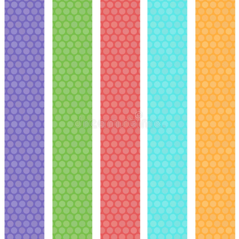 Polka dot background seamless pattern with green orange pink lilac blue stripes. Vector royalty free illustration